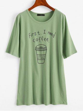 [34% OFF] 2020 Coffee Graphic Tunic Tee In LIGHT GREEN   ZAFUL