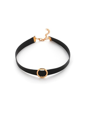 Ring Buckle Detail PU Choker