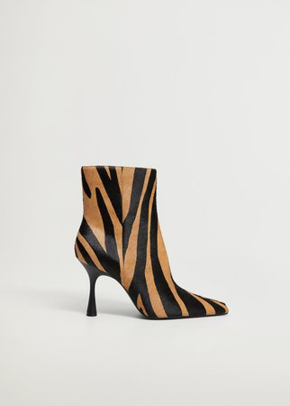 Fur leather ankle boots - Women   Mango United Kingdom