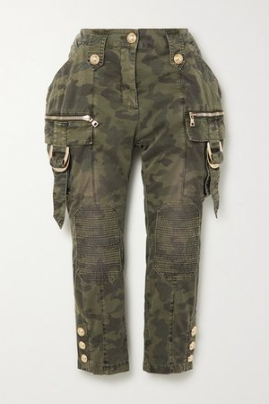 Cropped Button-embellished Camouflage-print Denim Slim-leg Pants - Army green