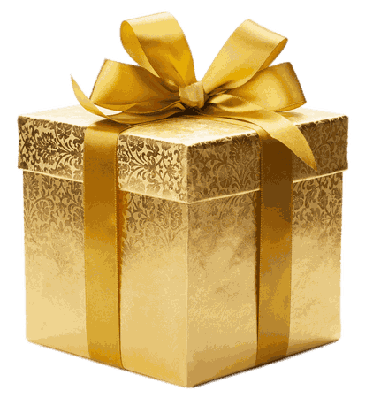 Gold Coloured Gift Box transparent PNG - StickPNG