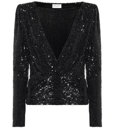 Sequined Black Blouse Top