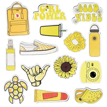 Amazon.com: Water Bottle Stickers Vsco Stickers Vinyl Cute Aesthetic Waterproof Yellow Sticker Pack Vsco Girl Stuff for Teens Kids: Computers & Accessories
