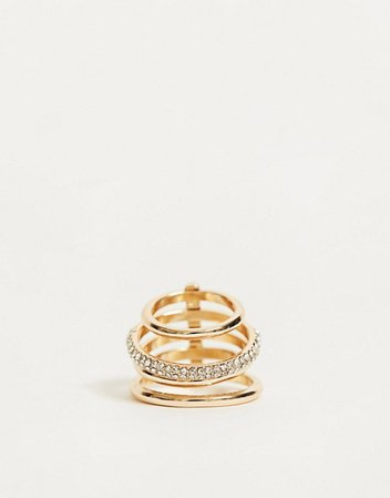 ASOS DESIGN multi ring with crystal pave design in gold tone | ASOS