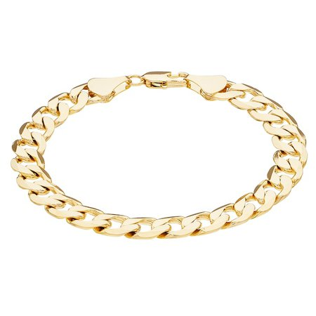 Men's 14k Gold Plated Curb Chain Bracelet