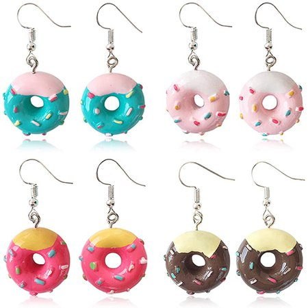 Amazon.com: DAMLENG Unique Fashion Chic Donut Dangle Earrings Charm Imitate Resin Food Drop Earrings Set For Women Girls Statement Jewellery Gifts (Pink + Rose Red + Green + Chocolate): Clothing