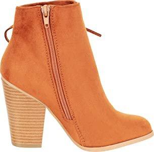Amazon.com | Cambridge Select Women's Side Corset Lace Chunky Block Heel Ankle Bootie, 10 B(M) US, Tan IMSU | Ankle & Bootie