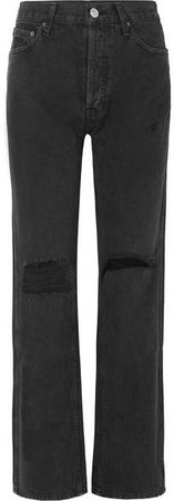 Distressed High-rise Jeans - Black