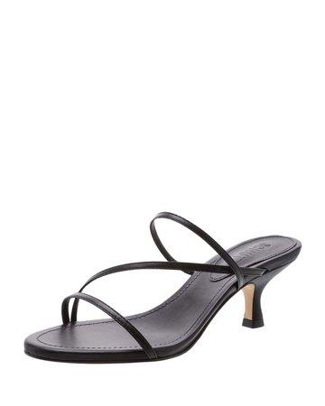 Schutz Evenise Strappy Kitten-Heel Leather Sandals | Neiman Marcus