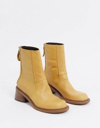 ASOS DESIGN Asta premium leather trucker boots in sand | ASOS