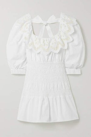 Self Portrait Shirred Broderie Anglaise Cotton-poplin Mini Dress - White