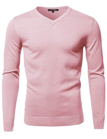 Youstar Men's Casual Solid Soft Knitted Long Sleeve V-Neck Sweater Top at Amazon Men's Clothing store