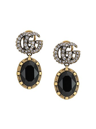 Gucci Crystal-Detail Double G Earrings Aw20 | Farfetch.Com