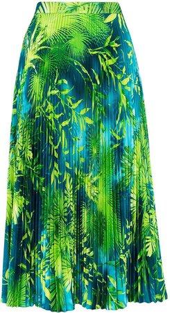 Jungle print pleated midi skirt