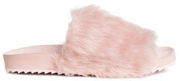 Slides with Faux Fur - Pink