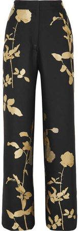 Metallic Floral-jacquard Wide-leg Pants - Black