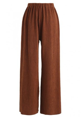 Caramel High-Waisted Wide-Leg Pants - NEW ARRIVALS - Retro, Indie and Unique Fashion brown