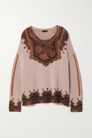 Beige Wool and cashmere-blend jacquard sweater | Etro | NET-A-PORTER