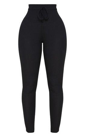 Shape Black Ribbed High Waist Leggings | PrettyLittleThing USA