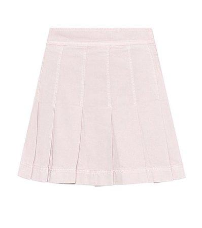 Pleated denim miniskirt