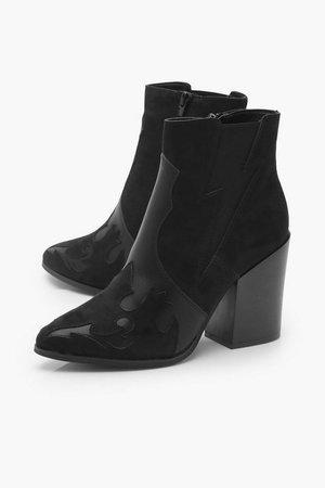Block Heel Pointed Toe Shoe Boots | Boohoo