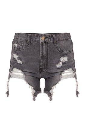 Black Heavy Distressed Denim Shorts | Denim | PrettyLittleThing