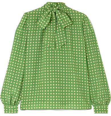 Pussy-bow Printed Silk Blouse - Green
