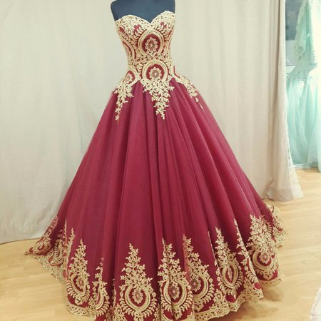 Red and Gold Princess Dresses