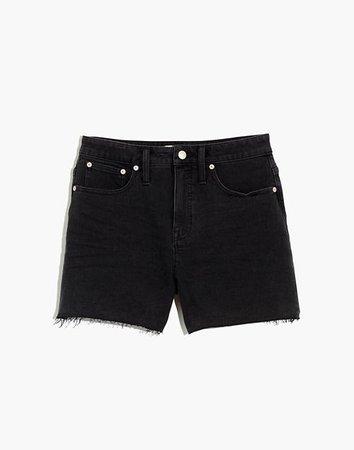 Curvy High-Rise Denim Shorts in Lunar Wash