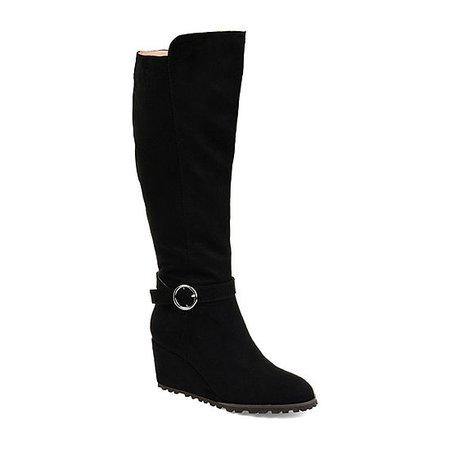 Journee Collection Veronica Wide Calf Wedge Heel Dress Boots