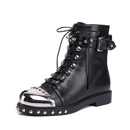 Amazon.com   onlymaker Women Martin Boots Metal Round Toe Motorcycle Metallic Rivet Studded Lace Up Buckle Strap Faux Fur Lining Inside Size 8 US   Ankle & Bootie