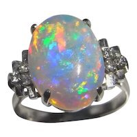 Precious Mexican Fire Opal Engagement Crystal Opal Ring Orange Opal : The Genuine Article Jewelry   Ruby Lane