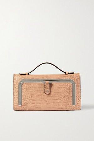 Postbox Mini Croc-effect Leather Tote - Beige
