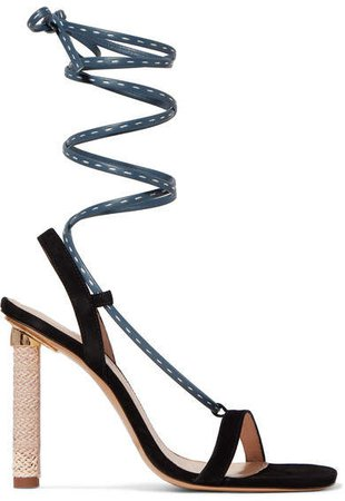 Bergamo Suede And Leather Sandals - Navy
