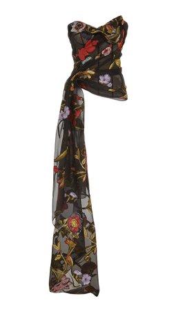 Floral-Print Strapless Cady Blouse by Oscar de la Renta | Moda Operandi