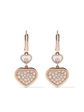 Chopard 18kt Rose Gold Happy Hearts Diamond Drop Earrings - Farfetch