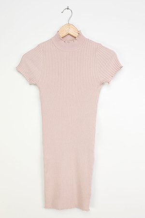 Blush Mini Dress - Ribbed Bodycon Dress - Mock Neck Dress - Lulus