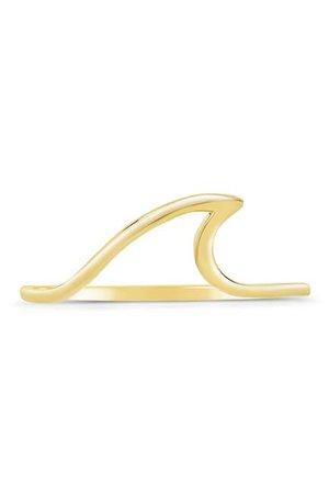 Sterling Forever   14K Gold Vermeil Polished Wave Ring   Nordstrom Rack