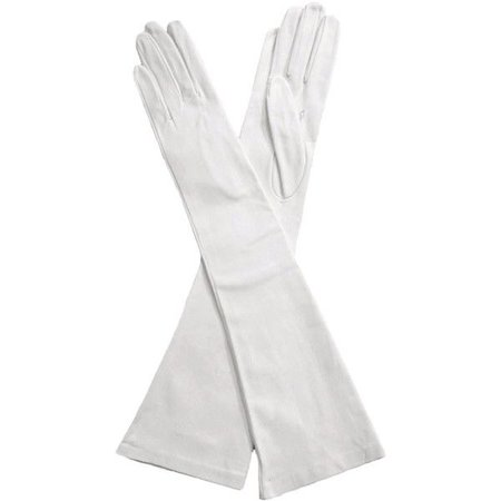 Elbow Length Italian Made Leather Gloves - White