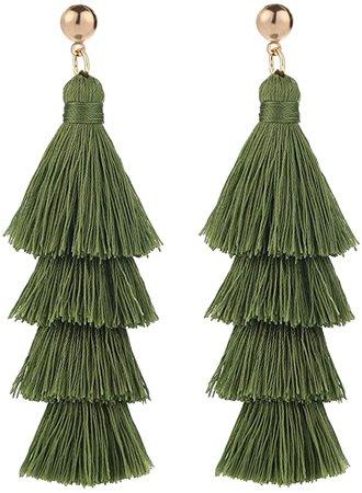 Amazon.com: BaubleStar Fashion Gold Tassel Dangle Earrings Layered Long Bonita Tiered Green Thread Tassel Drop Statement Jewelry for Women Girls B054G: Clothing, Shoes & Jewelry