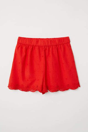 Embroidered Cotton Shorts - Red