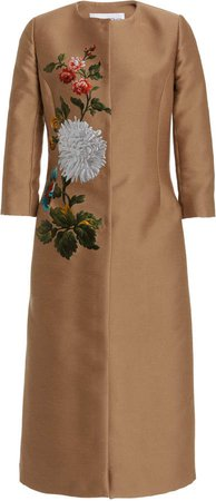 Oscar de la Renta Floral Knee-Length Coat