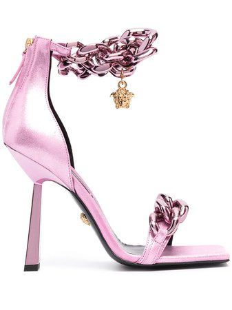 Versace Pink chain-link Square Sandals - Farfetch