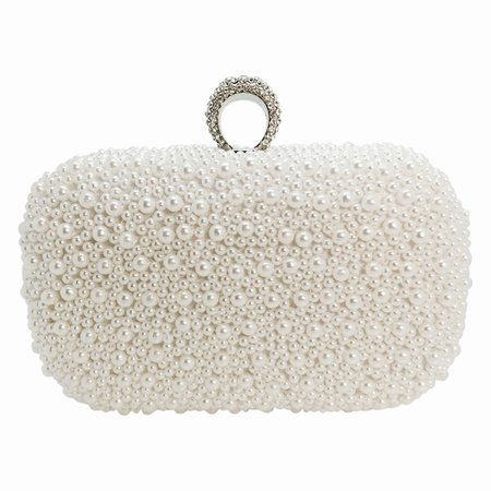 Dainty Pearl Clutch - White - Bridal Jewellery & Accessories > Bridal &