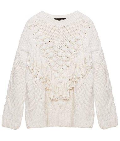 Tailor Made Off White Fringed Pompom Sweater < ΚΑΘΗΜΕΡΙΝΕΣ ΕΠΙΛΟΓΕΣ | aesthet.com