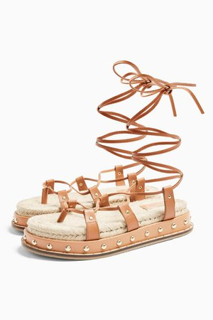 PEPPER Tan Leather Sandals   Topshop