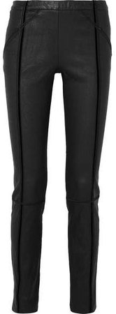 Velvet-trimmed Stretch-leather Skinny Pants - Black
