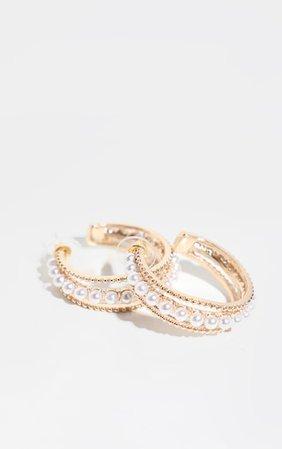 Gold Pearl Detail Small Hoop Earrings | PrettyLittleThing