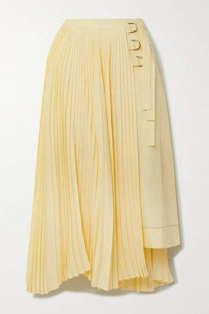 Asymmetric Pleated Woven Wrap Skirt - Yellow
