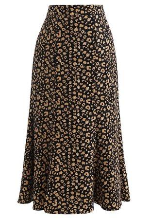 Leopard Printed Flare Hem Velvet Midi Skirt - Retro, Indie and Unique Fashion